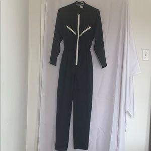 Vintage Women's Black Polyester Zip Race Suit